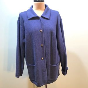 Lands End Blue Wool Sweater Jacket 1X